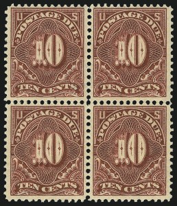 Sale Number 1037, Lot Number 2291, Postage Due Featuring Blocks and Plate Blocks (Scott J31-J75)10c Deep Claret (J49), 10c Deep Claret (J49)