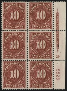 Sale Number 1037, Lot Number 2292, Postage Due Featuring Blocks and Plate Blocks (Scott J31-J75)10c Rose Carmine (J49a), 10c Rose Carmine (J49a)