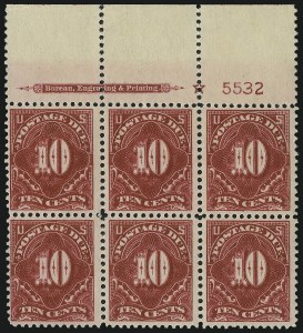 Sale Number 1037, Lot Number 2293, Postage Due Featuring Blocks and Plate Blocks (Scott J31-J75)10c Rose Carmine (J49a), 10c Rose Carmine (J49a)