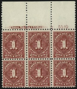 Sale Number 1037, Lot Number 2296, Postage Due Featuring Blocks and Plate Blocks (Scott J31-J75)1c Carmine Lake (J52), 1c Carmine Lake (J52)