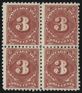 Sale Number 1037, Lot Number 2297, Postage Due Featuring Blocks and Plate Blocks (Scott J31-J75)3c Dull Rose (J54a), 3c Dull Rose (J54a)