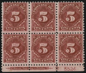 Sale Number 1037, Lot Number 2298, Postage Due Featuring Blocks and Plate Blocks (Scott J31-J75)5c Carmine Lake (J55), 5c Carmine Lake (J55)