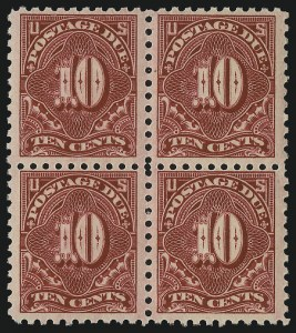 Sale Number 1037, Lot Number 2299, Postage Due Featuring Blocks and Plate Blocks (Scott J31-J75)10c Carmine Lake (J56), 10c Carmine Lake (J56)