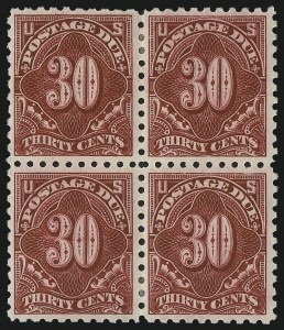 Sale Number 1037, Lot Number 2301, Postage Due Featuring Blocks and Plate Blocks (Scott J31-J75)30c Carmine Lake (J57), 30c Carmine Lake (J57)