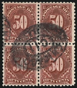 Sale Number 1037, Lot Number 2302, Postage Due Featuring Blocks and Plate Blocks (Scott J31-J75)50c Carmine Lake (J58), 50c Carmine Lake (J58)
