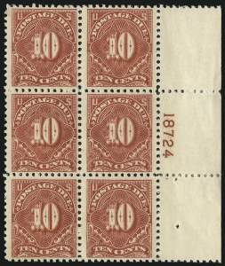 Sale Number 1037, Lot Number 2304, Postage Due Featuring Blocks and Plate Blocks (Scott J31-J75)10c Carmine Rose (J65), 10c Carmine Rose (J65)