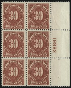 Sale Number 1037, Lot Number 2307, Postage Due Featuring Blocks and Plate Blocks (Scott J31-J75)30c Carmine Rose (J66), 30c Carmine Rose (J66)