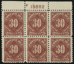 Sale Number 1037, Lot Number 2308, Postage Due Featuring Blocks and Plate Blocks (Scott J31-J75)30c Carmine Rose (J66), 30c Carmine Rose (J66)