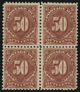 Sale Number 1037, Lot Number 2309, Postage Due Featuring Blocks and Plate Blocks (Scott J31-J75)50c Carmine Rose (J67), 50c Carmine Rose (J67)
