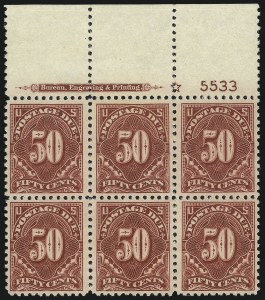 Sale Number 1037, Lot Number 2310, Postage Due Featuring Blocks and Plate Blocks (Scott J31-J75)50c Carmine Rose (J67), 50c Carmine Rose (J67)