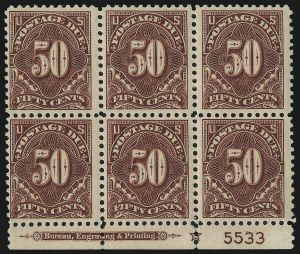 Sale Number 1037, Lot Number 2311, Postage Due Featuring Blocks and Plate Blocks (Scott J31-J75)50c Deep Claret (J67b), 50c Deep Claret (J67b)