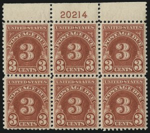 Sale Number 1037, Lot Number 2312, Postage Due Featuring Blocks and Plate Blocks (Scott J31-J75)3c Carmine (J72), 3c Carmine (J72)