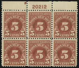 Sale Number 1037, Lot Number 2313, Postage Due Featuring Blocks and Plate Blocks (Scott J31-J75)5c Carmine (J73), 5c Carmine (J73)