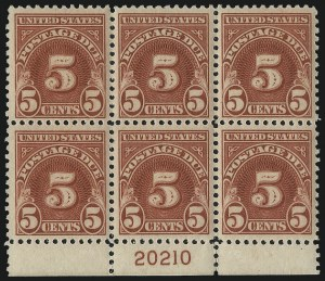 Sale Number 1037, Lot Number 2314, Postage Due Featuring Blocks and Plate Blocks (Scott J31-J75)5c Carmine (J73), 5c Carmine (J73)