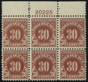 Sale Number 1037, Lot Number 2315, Postage Due Featuring Blocks and Plate Blocks (Scott J31-J75)30c Carmine (J75), 30c Carmine (J75)