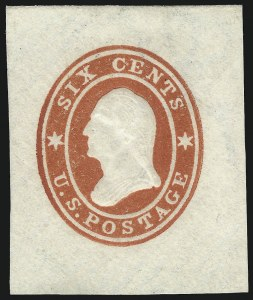 Sale Number 1037, Lot Number 2356, Postal Stationery (U, UO)6c Red on White, Star Die, Cut Square (U30), 6c Red on White, Star Die, Cut Square (U30)