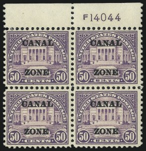 "Sale Number 1037, Lot Number 2421, United States PossessionsCANAL ZONE, 1924, 50c Lilac, Ty. ""A"" Ovpt. (80), CANAL ZONE, 1924, 50c Lilac, Ty. ""A"" Ovpt. (80)"