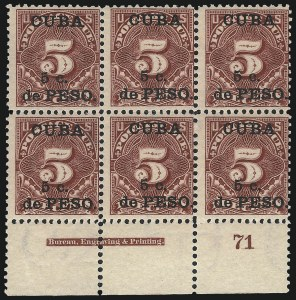 Sale Number 1037, Lot Number 2430, United States PossessionsCUBA, 1899, 5c on 5c Deep Claret, Postage Due (J3), CUBA, 1899, 5c on 5c Deep Claret, Postage Due (J3)