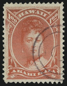 Sale Number 1037, Lot Number 2439, United States PossessionsHAWAII, 1883, $1.00 Rose Red (49), HAWAII, 1883, $1.00 Rose Red (49)