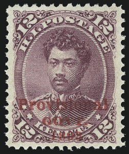 Sale Number 1037, Lot Number 2440, United States PossessionsHAWAII, 1893, 12c Red Lilac, Red Ovpt. (63), HAWAII, 1893, 12c Red Lilac, Red Ovpt. (63)