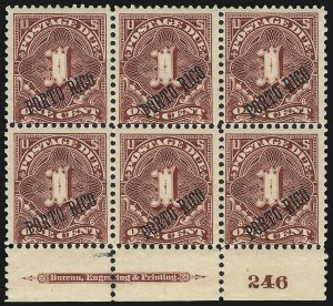 Sale Number 1037, Lot Number 2452, United States PossessionsPUERTO RICO, 1899, 1c Deep Claret, Postage Due, 25 and 36 Degree Angles (J1, J1a), PUERTO RICO, 1899, 1c Deep Claret, Postage Due, 25 and 36 Degree Angles (J1, J1a)