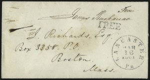 Sale Number 1037, Lot Number 2704, Autographs & Free Franks, Colonial, States, Waterway & ShipJames Buchanan, James Buchanan