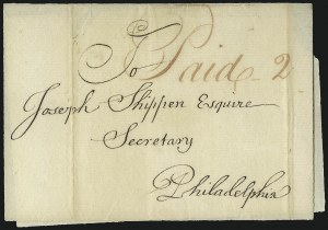 "Sale Number 1037, Lot Number 2708, Autographs & Free Franks, Colonial, States, Waterway & Ship(Lancaster Pa., 1757) ""Paid 2"", (Lancaster Pa., 1757) ""Paid 2"""