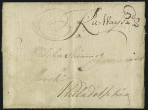"Sale Number 1037, Lot Number 2710, Autographs & Free Franks, Colonial, States, Waterway & Ship(Lancaster Pa., 1771) ""La Way Pd. 2"", (Lancaster Pa., 1771) ""La Way Pd. 2"""