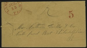 Sale Number 1037, Lot Number 2712, Autographs & Free Franks, Colonial, States, Waterway & ShipLancaster Pa. Jul. 13 (1851), Lancaster Pa. Jul. 13 (1851)