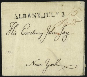 Sale Number 1037, Lot Number 2719, Autographs & Free Franks, Colonial, States, Waterway & ShipALBANY, JULY 3, ALBANY, JULY 3