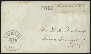 Sale Number 1037, Lot Number 2723, Autographs & Free Franks, Colonial, States, Waterway & ShipFree, Hiram Freeborn P.M, Free, Hiram Freeborn P.M