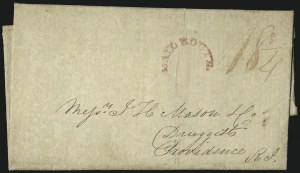 Sale Number 1037, Lot Number 2727, Autographs & Free Franks, Colonial, States, Waterway & ShipMAIL ROUTE, MAIL ROUTE
