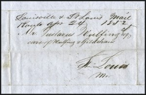 "Sale Number 1037, Lot Number 2729, Autographs & Free Franks, Colonial, States, Waterway & Ship""Louisville & St. Louis Mail Route, Apr. 24, 1852"", ""Louisville & St. Louis Mail Route, Apr. 24, 1852"""