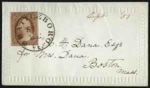 Sale Number 1037, Lot Number 2749, Postmasters` Provisional thru 1857 Issue3c Orange Brown, Ty. II (10A), 3c Orange Brown, Ty. II (10A)