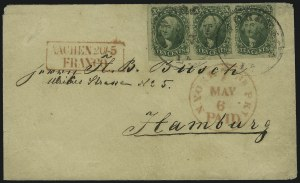 Sale Number 1037, Lot Number 2757, Postmasters` Provisional thru 1857 Issue10c Green, Ty. II (14), 10c Green, Ty. II (14)