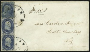 Sale Number 1037, Lot Number 2761, Postmasters` Provisional thru 1857 Issue1c Blue, Ty. V (24), 1c Blue, Ty. V (24)
