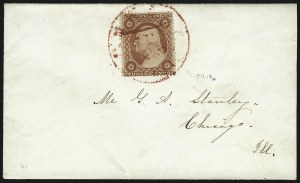 Sale Number 1037, Lot Number 2763, Postmasters` Provisional thru 1857 Issue3c Dull Red, Ty. III, Plate Crack (26 var), 3c Dull Red, Ty. III, Plate Crack (26 var)