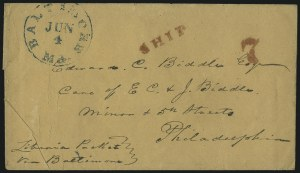 Sale Number 1037, Lot Number 2891, Slavery and the Civil War, Slave Related, Liberia, Anti SlaveryLiberia to Philadelphia, Liberia to Philadelphia