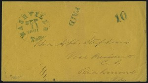 Sale Number 1037, Lot Number 2931, Confederate States Covers and StampsNashville Ten., Sep. 11, 1861, Nashville Ten., Sep. 11, 1861