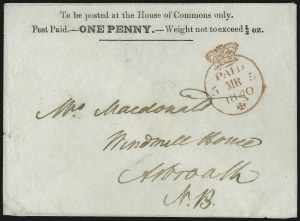 Sale Number 1037, Lot Number 2942, Great Britain: Postal History, Parliament Entires and MulreadysGREAT BRITAIN, 1840, House of Commons, 1p Red on White entire (SG PE9), GREAT BRITAIN, 1840, House of Commons, 1p Red on White entire (SG PE9)