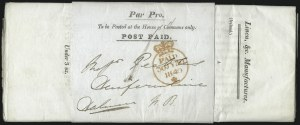Sale Number 1037, Lot Number 2943, Great Britain: Postal History, Parliament Entires and MulreadysGREAT BRITAIN, 1840, House of Commons, Par Pro Wrapper, GREAT BRITAIN, 1840, House of Commons, Par Pro Wrapper