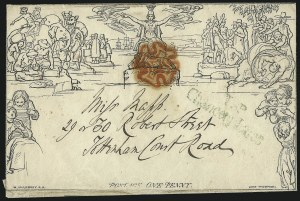 Sale Number 1037, Lot Number 2945, Great Britain: Postal History, Parliament Entires and MulreadysGREAT BRITAIN, 1840, 1p Black, Mulready (U1), GREAT BRITAIN, 1840, 1p Black, Mulready (U1)