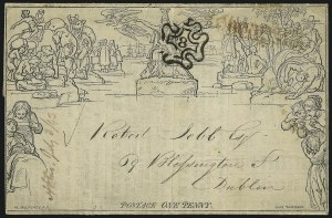 Sale Number 1037, Lot Number 2949, Great Britain: Postal History, Parliament Entires and MulreadysGREAT BRITAIN, 1840, 1p Black, Mulready Lettersheet (U3), GREAT BRITAIN, 1840, 1p Black, Mulready Lettersheet (U3)