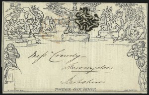 Sale Number 1037, Lot Number 2950, Great Britain: Postal History, Parliament Entires and MulreadysGREAT BRITAIN, 1840, 1p Black, Mulready Letter Sheet (U3), GREAT BRITAIN, 1840, 1p Black, Mulready Letter Sheet (U3)