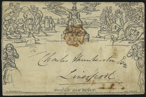Sale Number 1037, Lot Number 2951, Great Britain: Postal History, Parliament Entires and MulreadysGREAT BRITAIN, 1840, 1p Black, Mulready Letter Sheet (U3), GREAT BRITAIN, 1840, 1p Black, Mulready Letter Sheet (U3)
