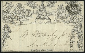 Sale Number 1037, Lot Number 2954, Great Britain: Postal History, Parliament Entires and MulreadysGREAT BRITAIN, 1840, 1p Black, Mulready Lettersheet (U3), GREAT BRITAIN, 1840, 1p Black, Mulready Lettersheet (U3)