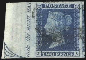 Sale Number 1037, Lot Number 3014, Great Britain: Stamps and BalancesGREAT BRITAIN, 1841, 2p Blue (4; SG 14), GREAT BRITAIN, 1841, 2p Blue (4; SG 14)