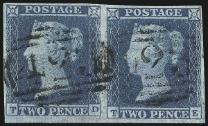 Sale Number 1037, Lot Number 3015, Great Britain: Stamps and BalancesGREAT BRITAIN, 1841, 2p Blue (4; SG 14), GREAT BRITAIN, 1841, 2p Blue (4; SG 14)