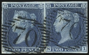 Sale Number 1037, Lot Number 3016, Great Britain: Stamps and BalancesGREAT BRITAIN, 1841, 2p Blue (4; SG 14), GREAT BRITAIN, 1841, 2p Blue (4; SG 14)