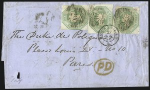 Sale Number 1037, Lot Number 3022, Great Britain: Stamps and BalancesGREAT BRITAIN, 1847, 1sh Green (5; SG 54), GREAT BRITAIN, 1847, 1sh Green (5; SG 54)